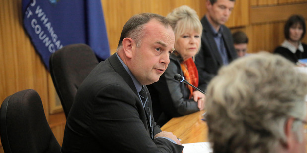Kym Fell, chief executive of Whanganui District Council, at the extraordinary meeting in August to decide whether to start construction on its new wastewater treatment plant.