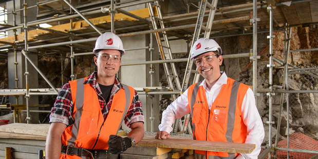 Fletcher CEO Mark Adamson (right) and apprentice carpenter Luke Thomas. Photo / Ted Baghurst