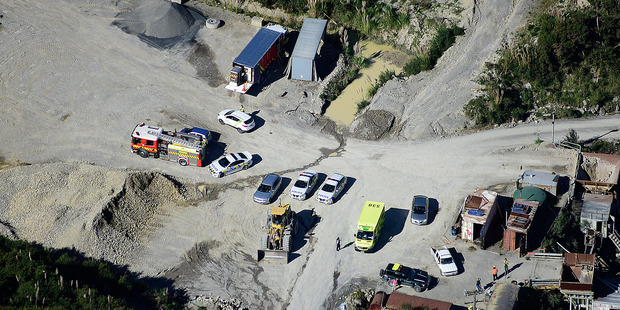 Emergency services at the scene where a young man was killed on the job at Oropi Quarry last year. Photo/file