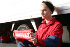 Alex Green was chained to a truck outside Whanganui's Mars Petcare factory on May 19. PHOTO/ STUART MUNRO