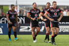 From left - Solomone Kata, Bodene Thompson, Simon Mannering and captain Ryan Hoffman of the Warriors after the fulltime whistle. Photo / NZME.