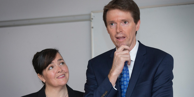 Former Conservative Party leader Colin Craig and wife Helen Craig attend a media conference. Photo / File