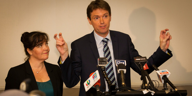 Colin Craig and his wife Helen at a press conference announcing he was seeking compensation from the 'Dirty Politics Brigade'. Photo / File
