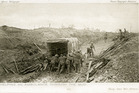 Somme Mud. A postcard sent home by Captain Norman Prior shows soldiers assisting an ambulance, a common scene on the Western Front. Wairarapa Archive 11-72/3-10 WAG 15Jan16