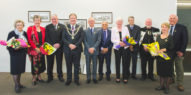 This year's Napier Citizens' Civic Awards recipients  Erica Toomey (left), Penny and Mike Madden, Napier Mayor Bill Dalton, John Cocking, Matiu Eru, Christine Packer, Tony Wilson, Selwyn Hawthorne, Anne Reese and Harry Findlay.