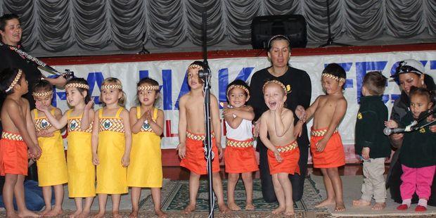 Children from Kaitoki Kohanga Reo entertain on the first day of the kapa haka festival in the Dannevirke Town Hall last Thursday. Photo / Christine McKay