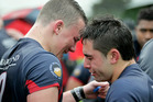 Jacob Devery (left) and Trent Hape console each other after yesterday's loss. Photo / Warren Buckland