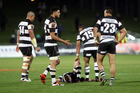 Dejected Magpies ask the question of each other after leaking yet another try  against the Counties-Manukau Steelers last week. Photo / Paul Taylor