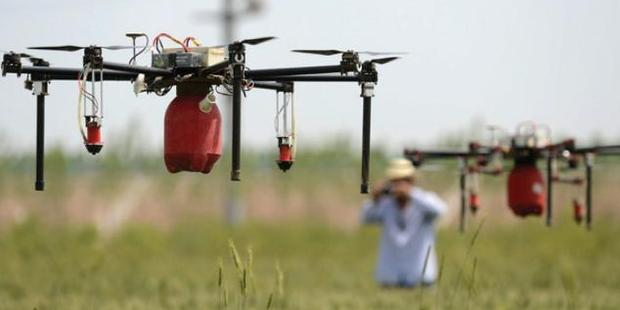 JOB MADE EASY: Robotic copters spray  insecticide in Shijiazhuang, China. Photo / supplied