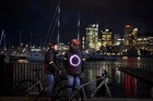 BMX cyclist Sarah Walker and comedian Jon Bridges testing the Smart Jacket, a collaboration between Vodafone Netherlands and Magic Bullet designed to improve cycling safety at night.