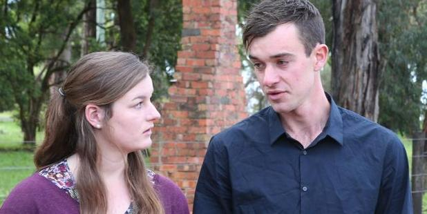Ella and Mitchell Tromp at a press conference on a property in Silvan after their missing father Mark was found near Wangaratta. Photo / David Crosling / News Corp Australia