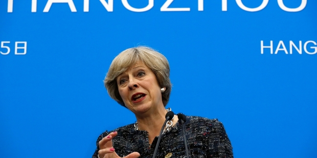Theresa May speaks at a press conference held at the end of the G-20 summit in Hangzhou. Photo / AP