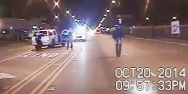 A frame from dash-cam video provided by the Chicago Police Department showing 17-year-old Laquan McDonald moments before being fatally shot by CPD officer Jason Van Dyke. Photo / AP