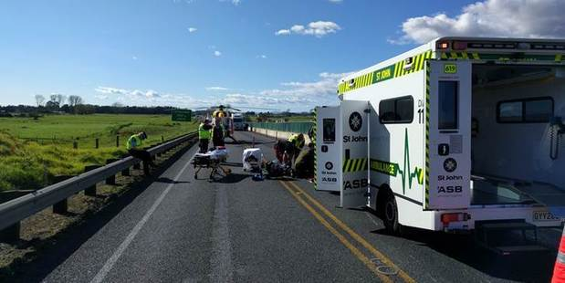Emergency services on the scene of today's motorbike crash near Huntly. Supplied: Philips Search and Rescue Trust