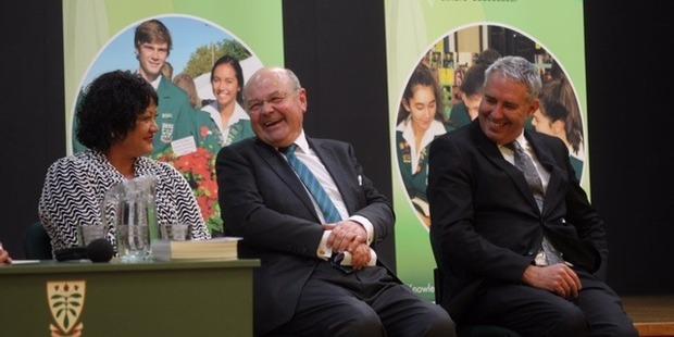 GOOD SPIRITS: Hastings mayoral candidates Adrienne Pierce (left), Guy Wellwood and Lawrence Yule exchange pleasantries at tonight's mayoral debate. PHOTO DUNCAN BROWN