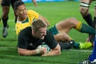 All Blacks flanker Sam Cane, scoring against the Wallabies in Wellington, was bemused by the niggle from the Australians. Photo / Mark Mitchell
