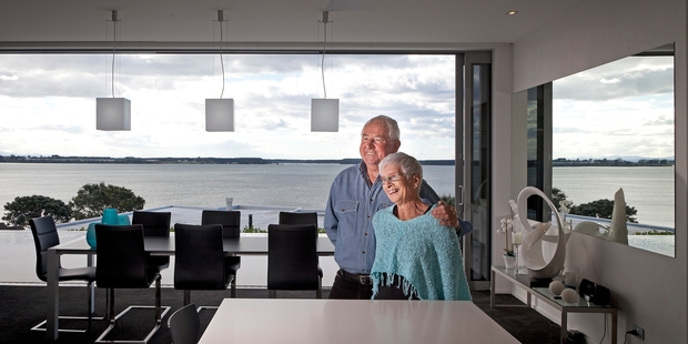 WATER VIEWS: Gary and Kay Siegel take pleasure in the 180-degree sea views from their Matua home.PHOTO/ANDREW WARNER
