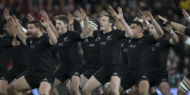 Loading The All Blacks perform the haka ahead of the third test against Wales. Photo / Brett Phibbs