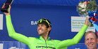 Kiwi rider Jack Bauer celebrates after winning stage five of the Tour of Britain. Photo / Getty