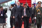 John Key arrived at the ASEAN meeting in Laos.