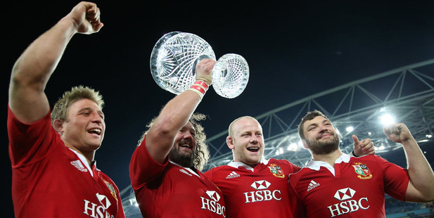 Lions players celebrate the series win over Australia in 2013. photo / Getty