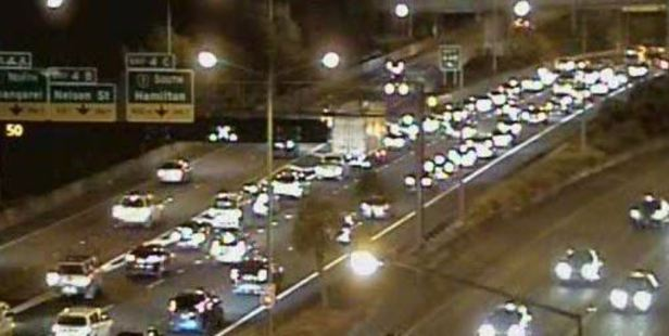 The crash is after the Newton Rd offramp on the eastbound side of SH16. Photo / via NZTA