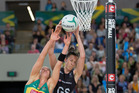 Sharni Layton and Bailey Mes clash to catch the ball during the Netball Quad Series match between Australia and the New Zealand. Photo / Photosport