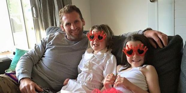 Kieran Read at home on Father's Day with his daughters Elle and Eden. Photo/Facebook.