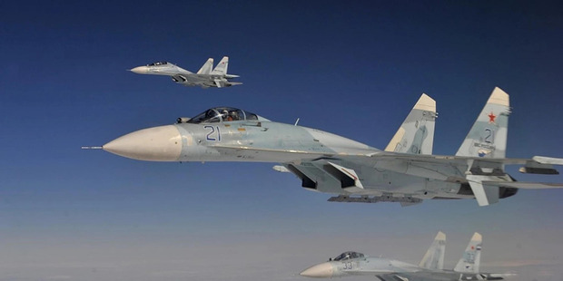 Russian Federation Air Force Su-27 Sukhois intercept a simulated hijacked aircraft entering Russian airspace in August during during an exercise. Photo / US Air Force