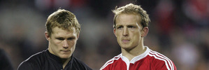 Josh Lewsey and Matt Dawson after their loss to the All Blacks in the third test in 2005. Photo / Brett Phibbs