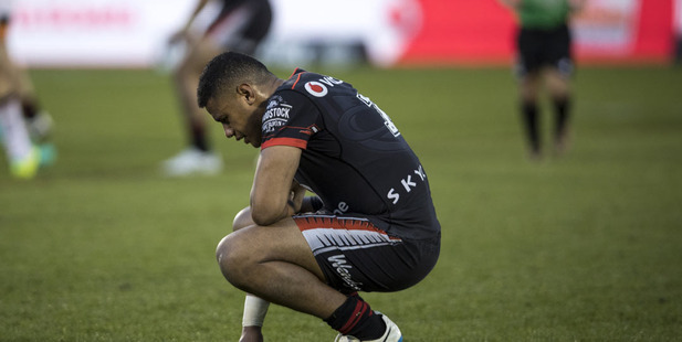 Warriors player David Fusitu'a looks dejected after their loss during round 25 against the Wests Tigers. Photo / Dean Purcell