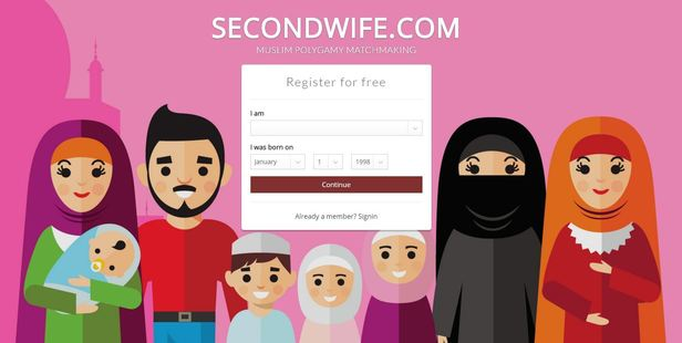 Azad Chaiwala now runs Secondwife.com aimed at the Muslim community in the UK and Polygamy.com which has members of various faiths that are 55 per cent female. Photo / Secondwife.com screenshot