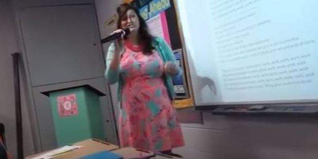 Loading This US high school teacher decided to ignore the more traditional method of talking to her students and instead opts for the medium of song. Photo / YouTube