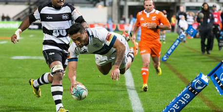 Auckland's Vince Aso dives over to score in the corner. Photo / Photosport