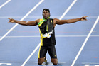 Jamaica's Usain Bolt celebrates winning the gold medal in the men's 4x100-metre relay at the Rio Olympics. Photo / AP
