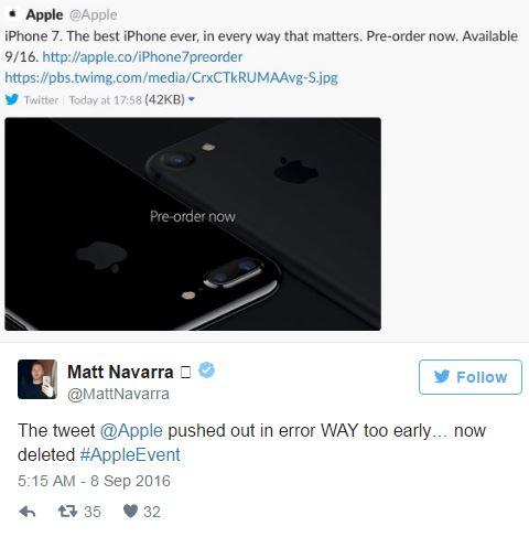 Screenshot of Apple's deleted tweet.