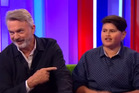 Sam Neill and Julian Dennison during an interview on The One Show in England.
