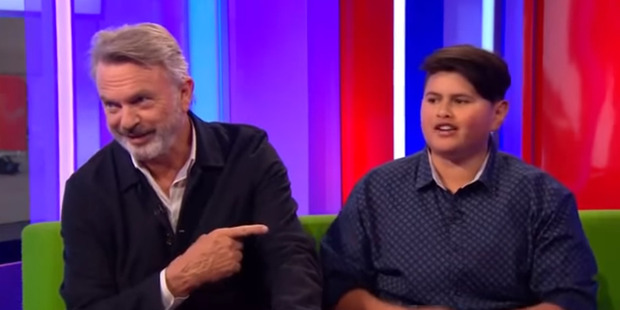 Loading Sam Neill and Julian Dennison during an interview on The One Show in England.