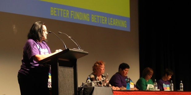 NO GO: Jude Karaitiana speaks at this morning's teachers' meeting in Napier to protest the Government's new funding proposal. PHOTO DUNCAN BROWN