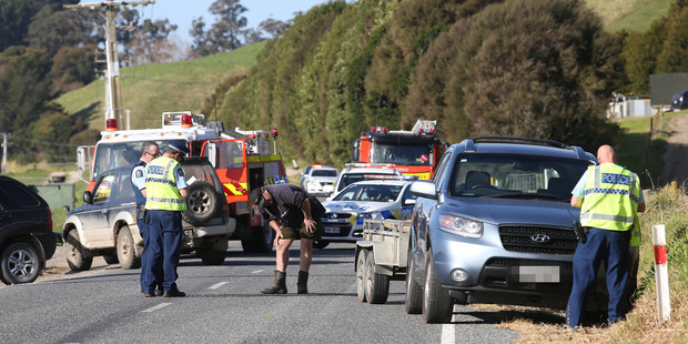 Loading Emergency services at Otamarakau Valley Rd where a mother and her two young children were hit by a car. Photo/John Borren