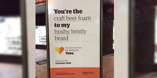 Wellington hipster-ness has jumped the shark as the overused archetype appears on council voting literature.