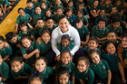 Olympian Valerie Adams returned home to surprise students from her old school at Southern Cross Campus Junior School in Mangere, Auckland. Photo / Jason Oxenham.