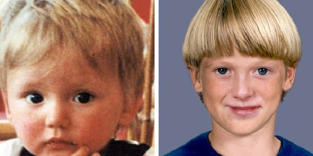 Ben Needham pictured shortly before his 1991 disappearance aged 21 months and a computer generated age progressed image. Photo / Supplied