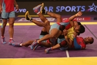 The combat sport of kabaddi is a big hit on TV in India and elsewhere. Photo / AP