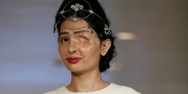 Model and acid attack victim Reshma Qurishi models the Archana Kochhar collection during Fashion Week in New York. Photo / AP