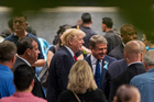 Republican Presidential Candidate Donald Trump, centre, with congressman Michael McCaul. Photo / AP