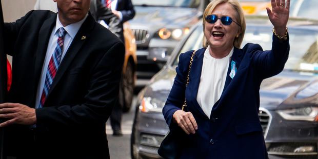Loading Democratic presidential candidate Hillary Clinton waves as she walks from her daughter's apartment building on Monday in New York. Photo / AP