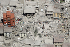 An aerial photo shows the damaged buildings in the town of Amatrice, central Italy, after the earthquake. Photo / AP