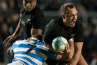 All Blacks wing Israel Dagg is tackled by Argentina flanker Javier Ortego Desio. Photo / Jason Oxenham