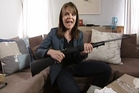 TV3 journalist and Story presenter Heather du Plessis-Allan displays a .22 calibre sporting rifle that she purchased via the internet using fake documentation on TV3's Story current affairs programme